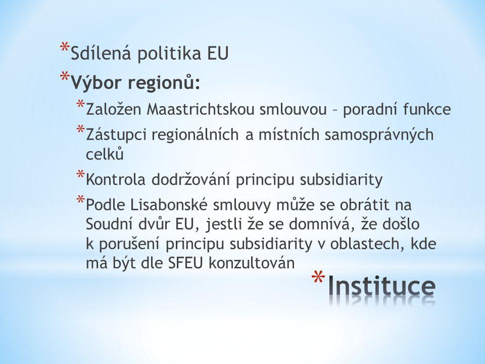 Instituce Sdílená politika EU Výbor regionů: