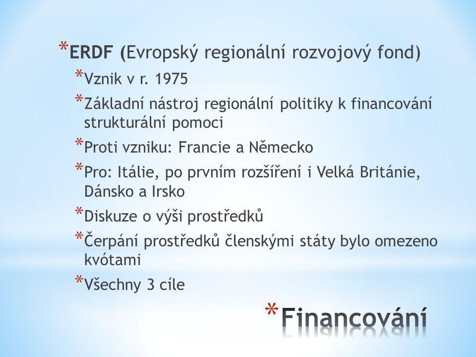 Financování ERDF (Evropský regionální rozvojový fond) Vznik v r. 1975