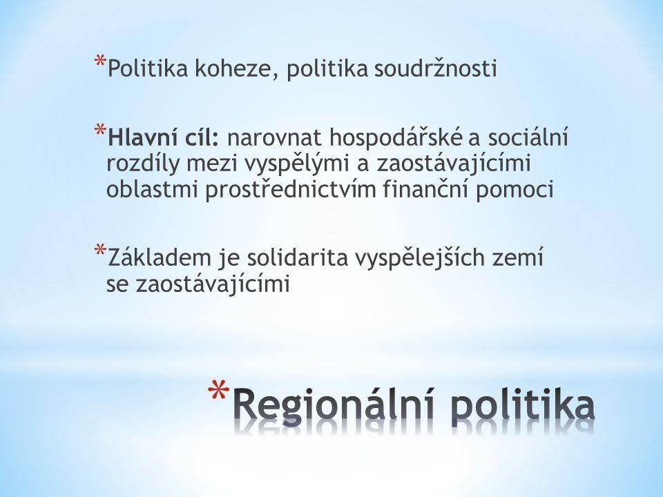 Regionální politika Politika koheze, politika soudržnosti