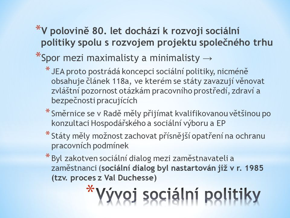 Vývoj sociální politiky