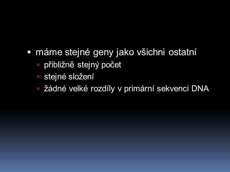 máme stejné geny jako všichni ostatní
