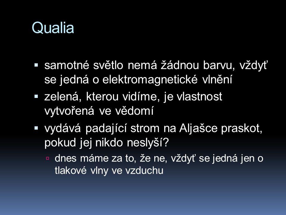 Qualia samotné světlo nemá žádnou barvu, vždyť se jedná o elektromagnetické vlnění. zelená, kterou vidíme, je vlastnost vytvořená ve vědomí.