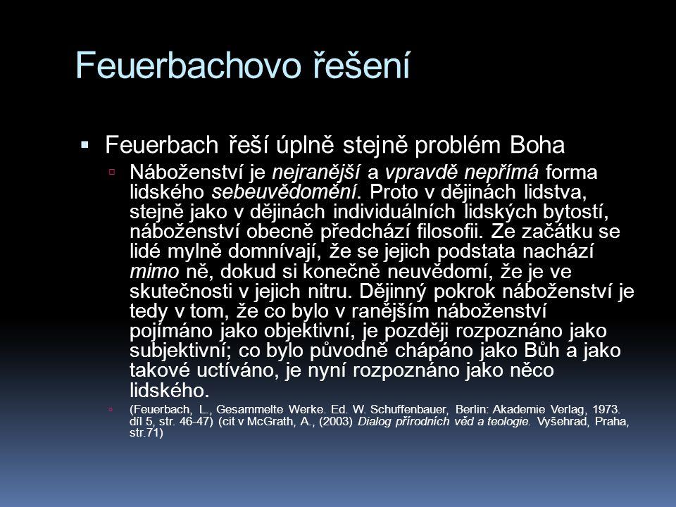 Feuerbachovo řešení Feuerbach řeší úplně stejně problém Boha