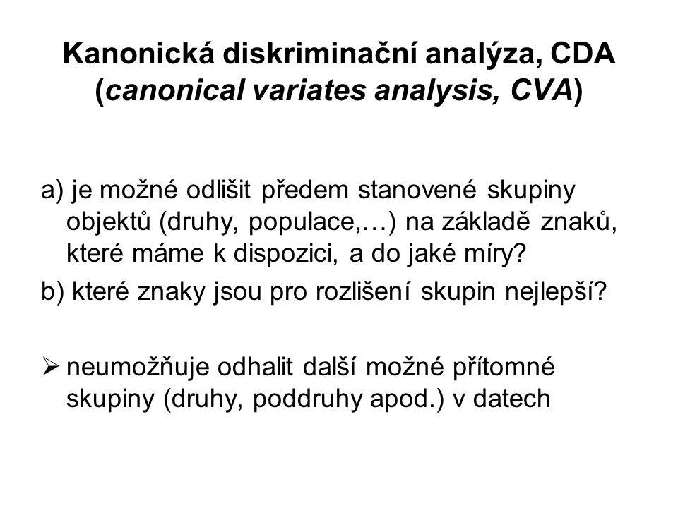 Kanonická diskriminační analýza, CDA (canonical variates analysis, CVA)