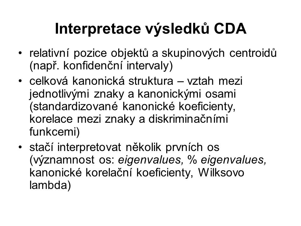 Interpretace výsledků CDA