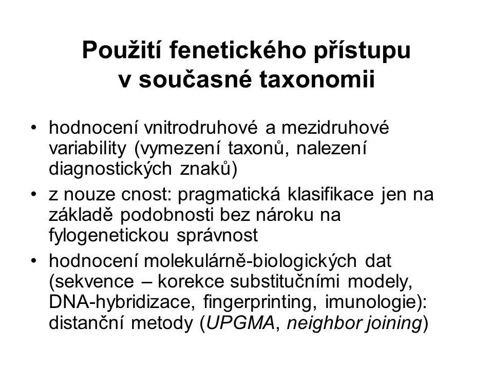 Použití fenetického přístupu v současné taxonomii