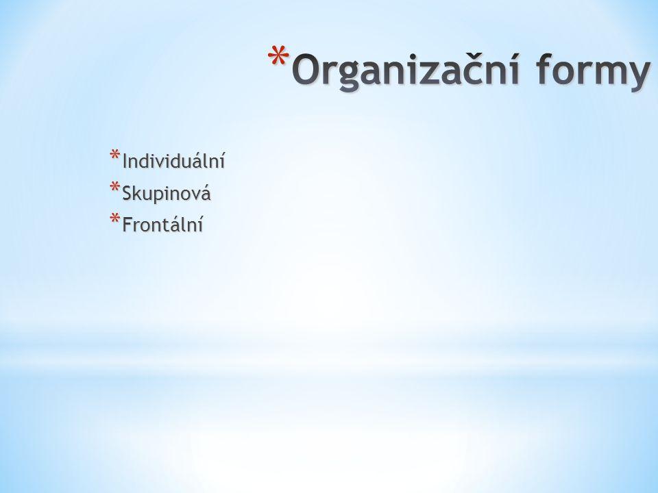 Organizační formy Individuální Skupinová Frontální