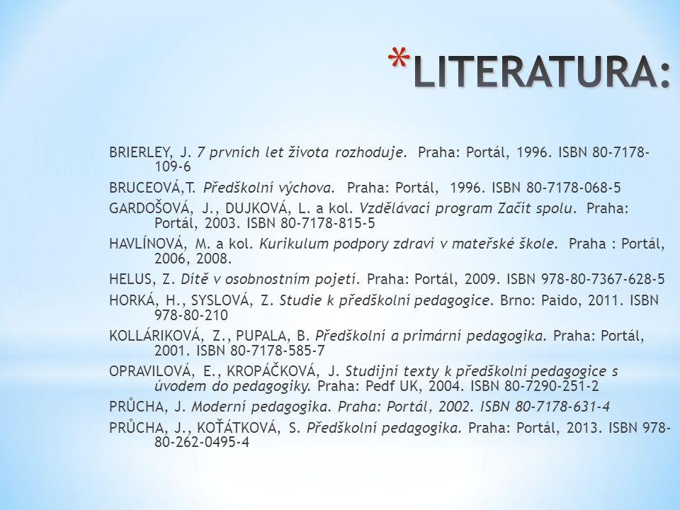 LITERATURA: BRIERLEY, J. 7 prvních let života rozhoduje. Praha: Portál, 1996. ISBN 80-7178- 109-6.