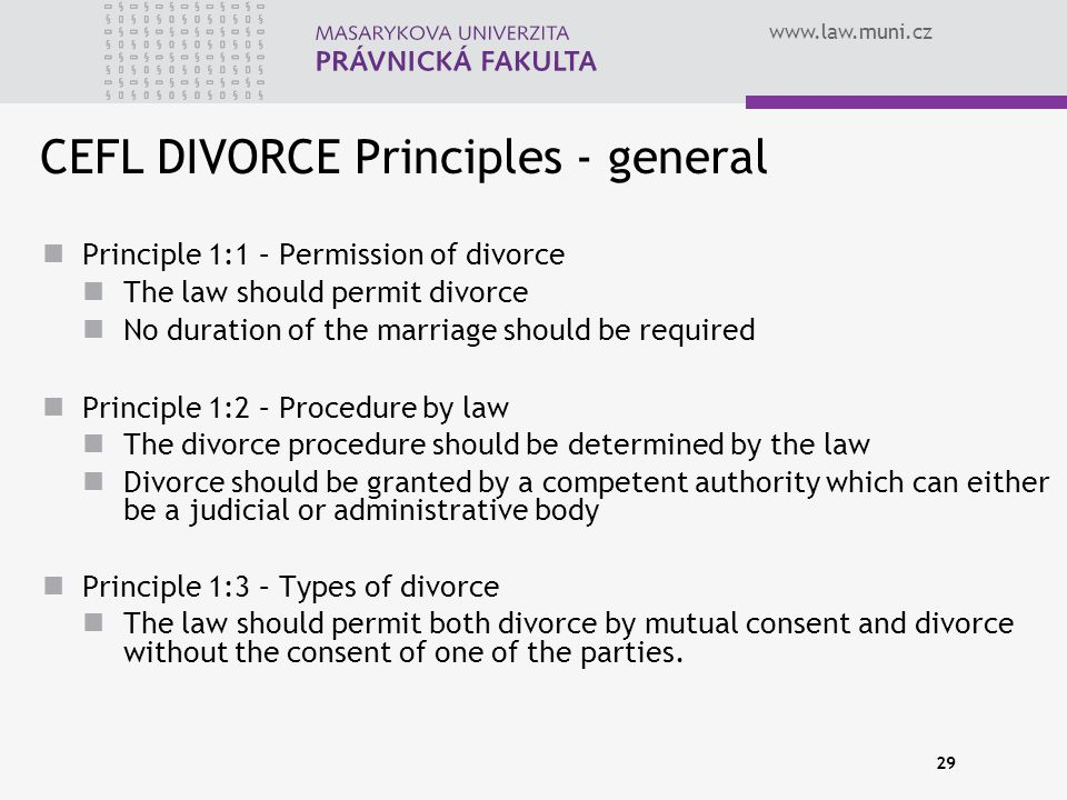 CEFL DIVORCE Principles - general