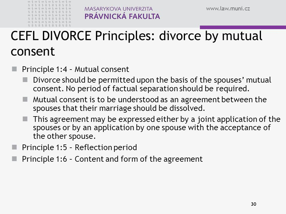 CEFL DIVORCE Principles: divorce by mutual consent