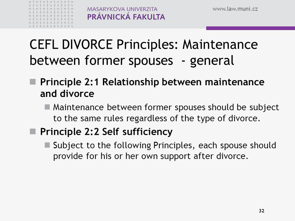 CEFL DIVORCE Principles: Maintenance between former spouses - general