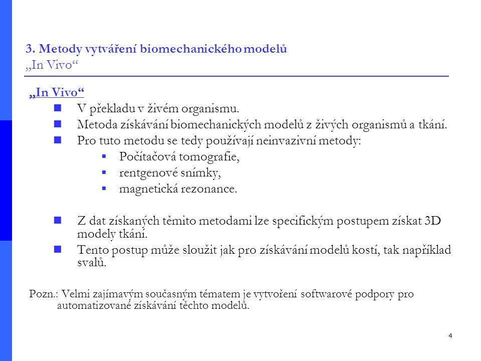"""3. Metody vytváření biomechanického modelů """"In Vivo"""