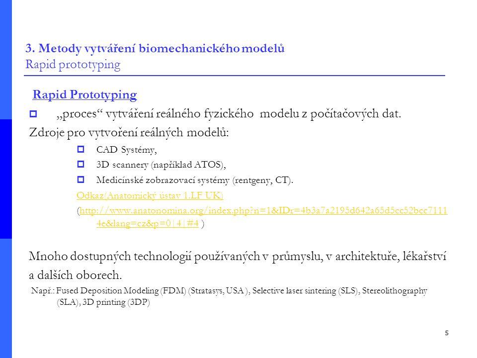 3. Metody vytváření biomechanického modelů Rapid prototyping