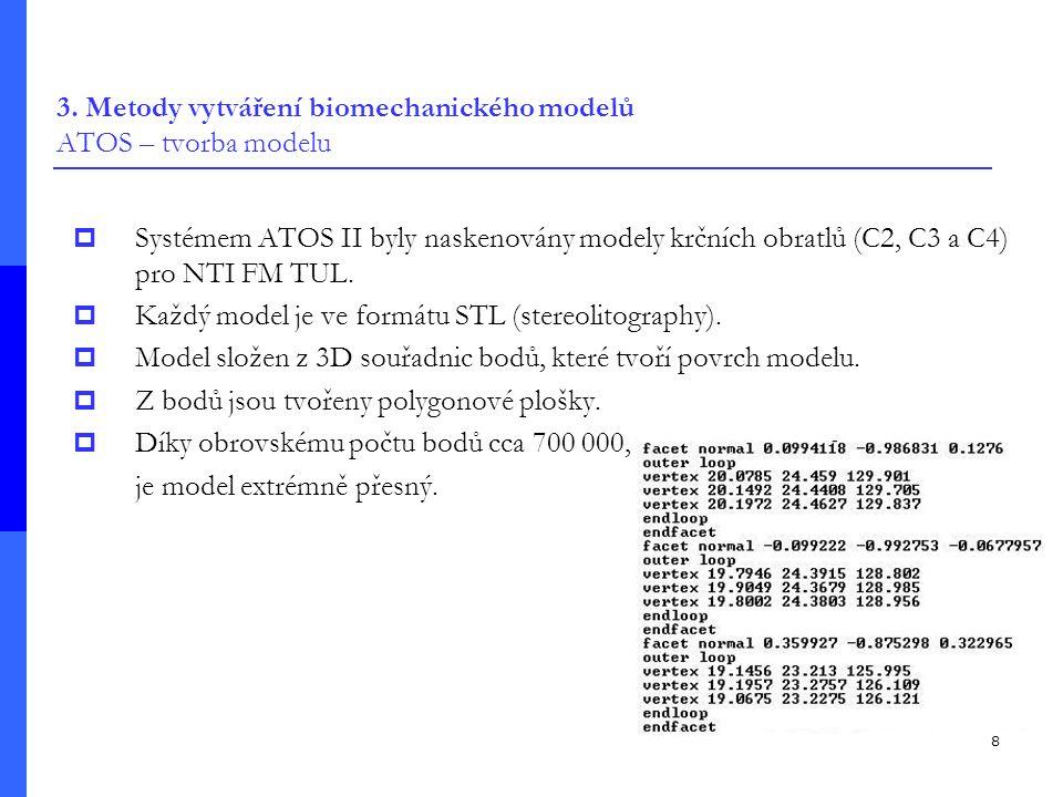 3. Metody vytváření biomechanického modelů ATOS – tvorba modelu