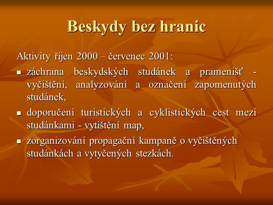 Beskydy bez hranic Aktivity říjen 2000 – červenec 2001: