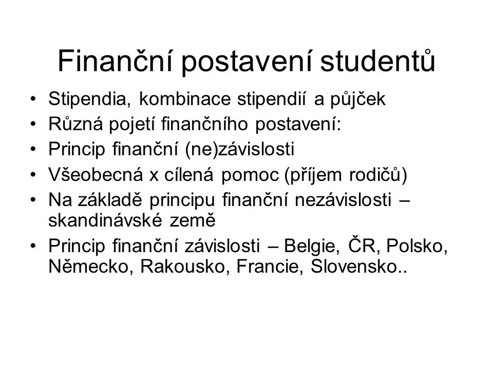 Finanční postavení studentů