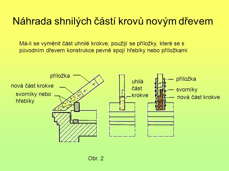 Náhrada shnilých částí krovů novým dřevem