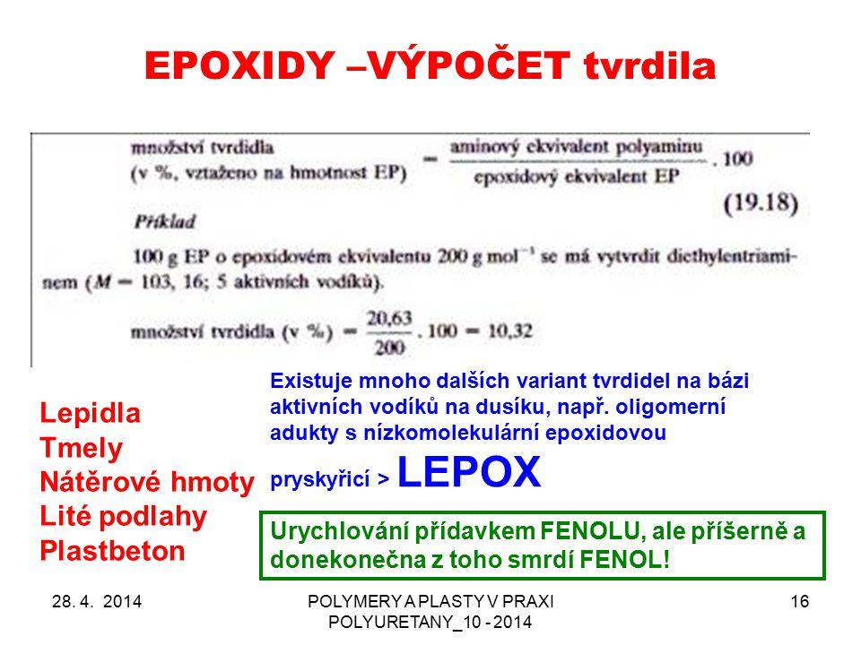 EPOXIDY –VÝPOČET tvrdila