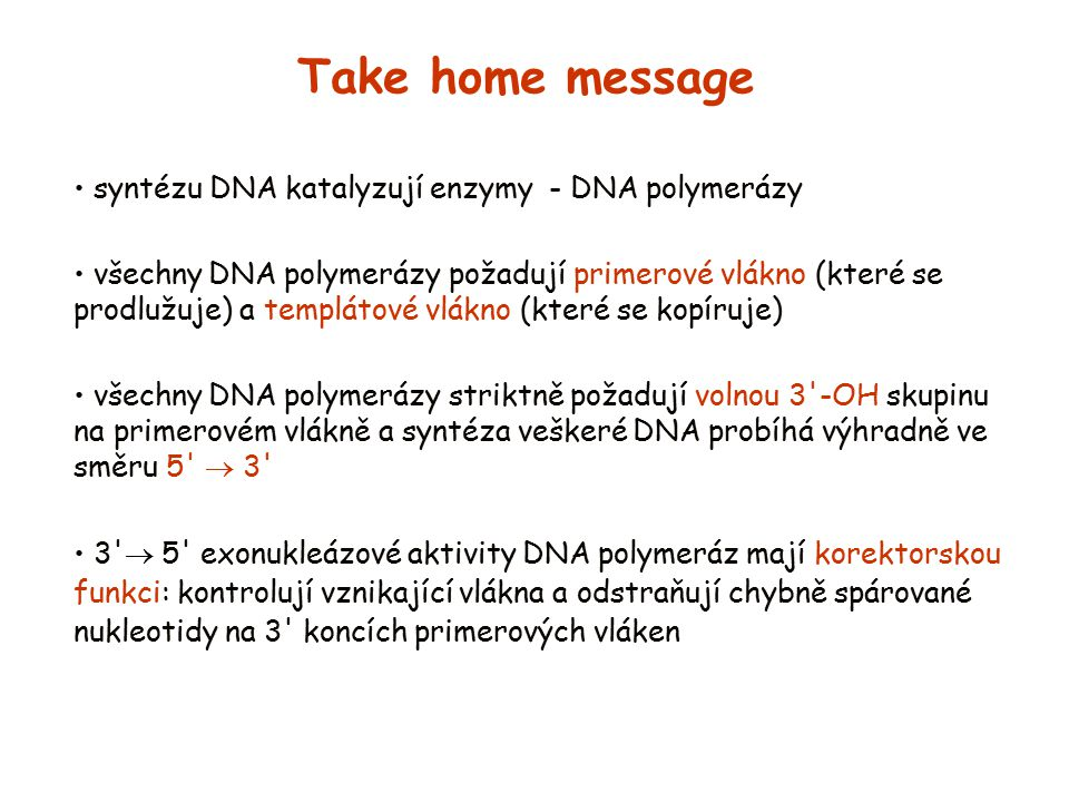 Take home message syntézu DNA katalyzují enzymy - DNA polymerázy