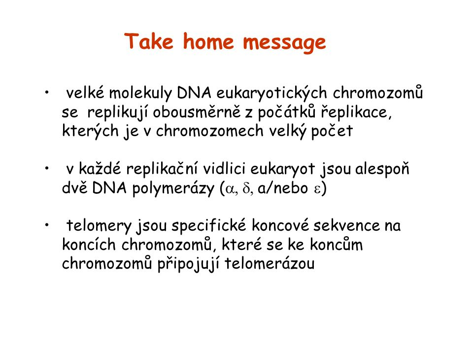 Take home message velké molekuly DNA eukaryotických chromozomů se replikují obousměrně z počátků řeplikace, kterých je v chromozomech velký počet.