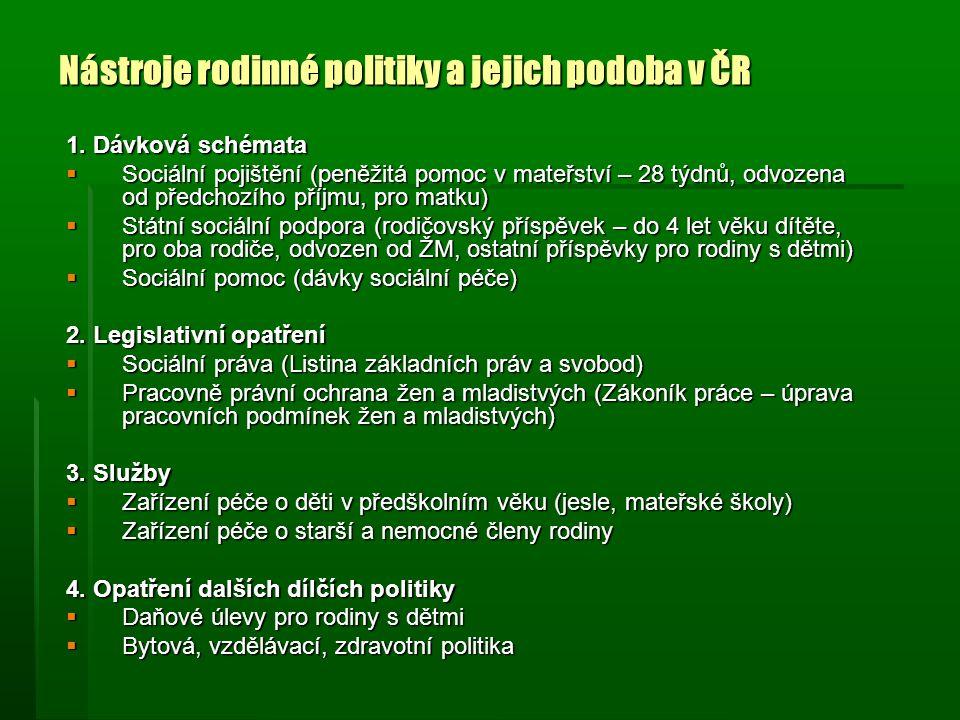 Nástroje rodinné politiky a jejich podoba v ČR