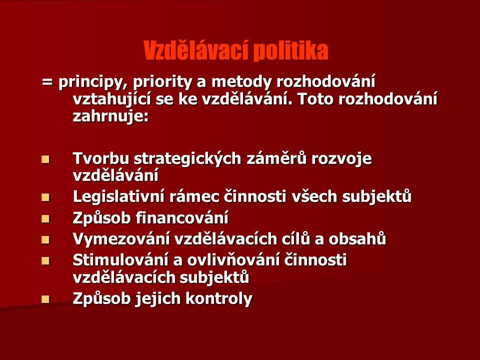 Vzdělávací politika = principy, priority a metody rozhodování vztahující se ke vzdělávání. Toto rozhodování zahrnuje: