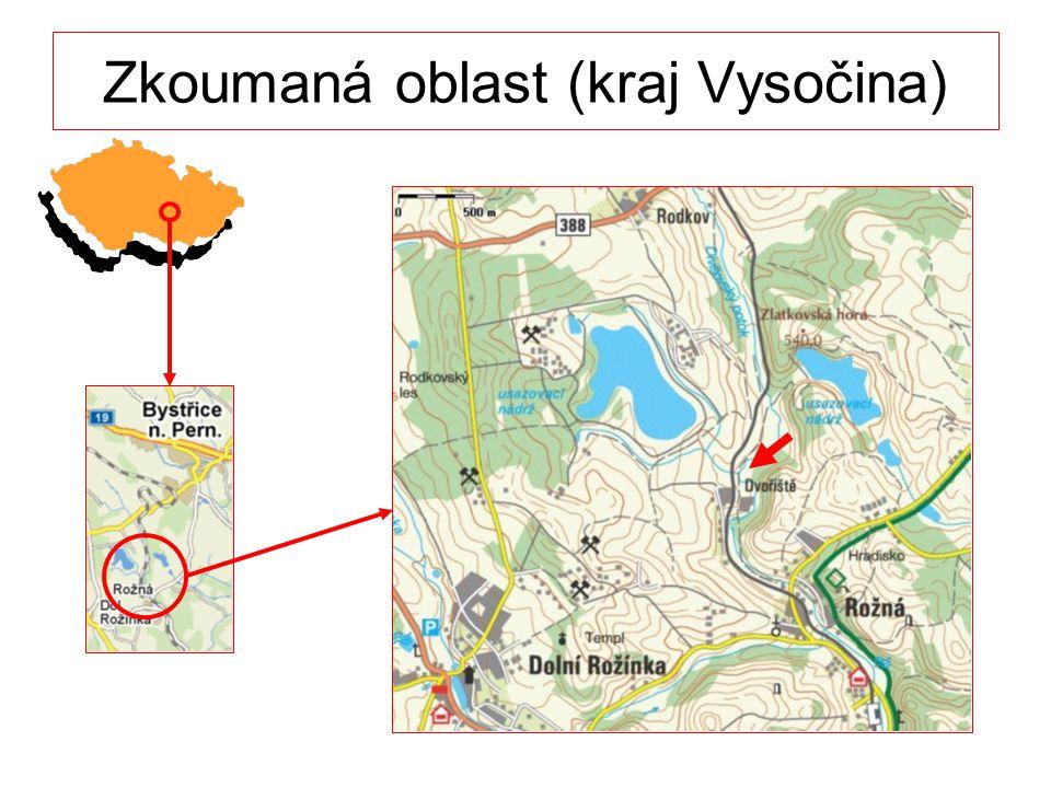 Zkoumaná oblast (kraj Vysočina)