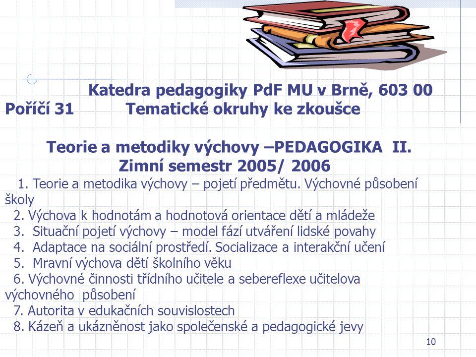 Teorie a metodiky výchovy –PEDAGOGIKA II. Zimní semestr 2005/ 2006