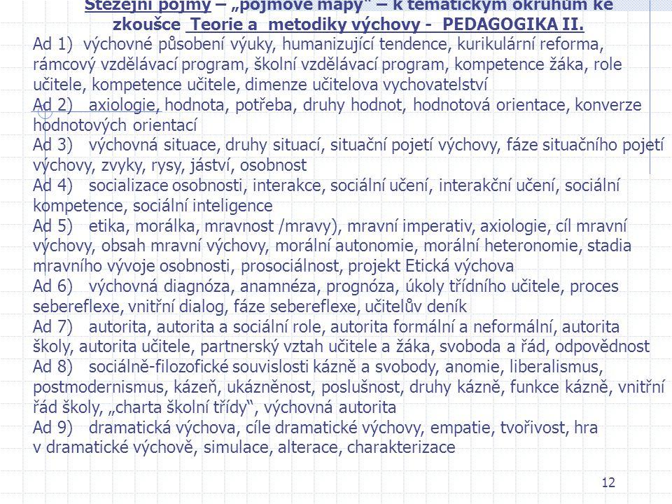 """Stěžejní pojmy – """"pojmové mapy – k tematickým okruhům ke zkoušce Teorie a metodiky výchovy - PEDAGOGIKA II."""