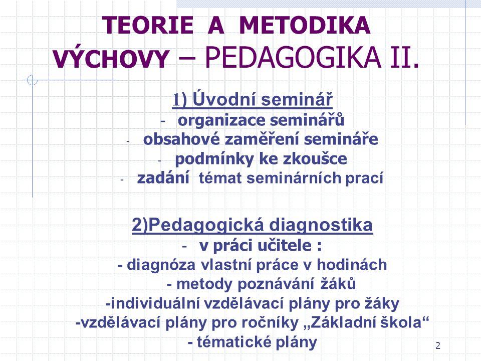 Tematické zaměření seminářů TEORIE A METODIKA VÝCHOVY – PEDAGOGIKA II.
