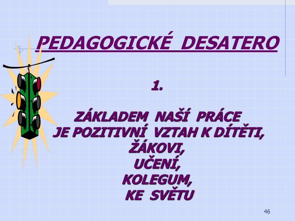 PEDAGOGICKÉ DESATERO 1.