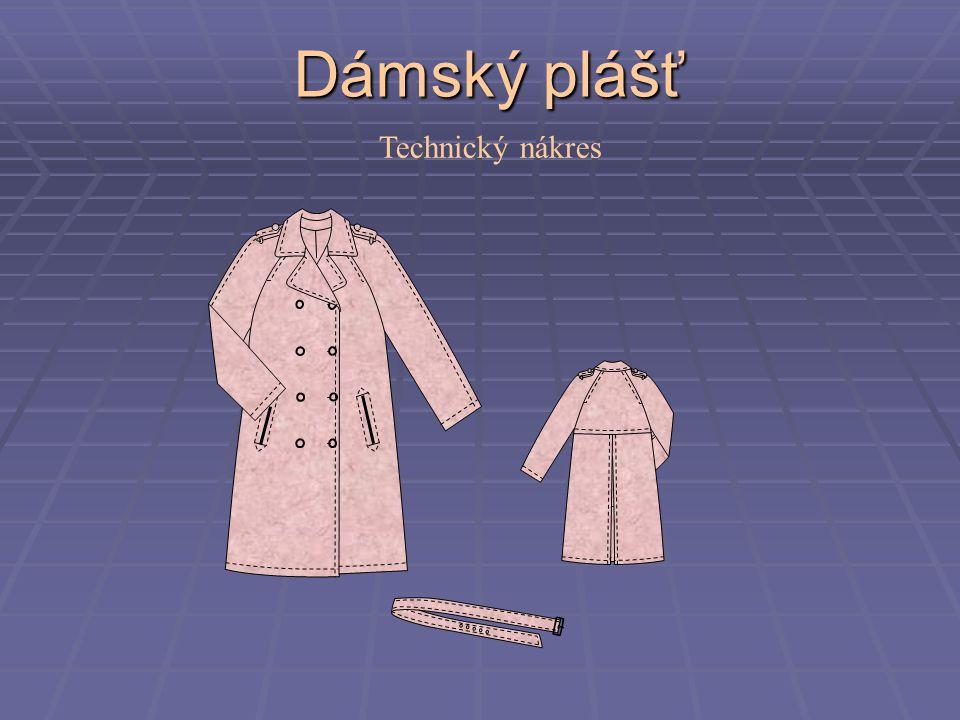 Dámský plášť Technický nákres
