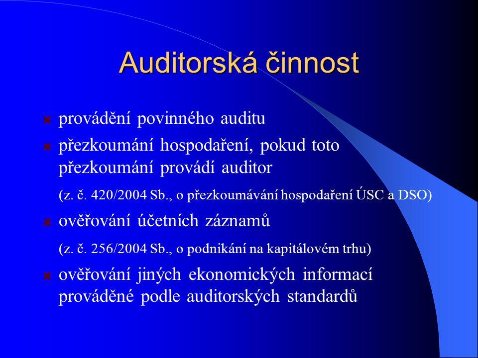 Auditorská činnost provádění povinného auditu