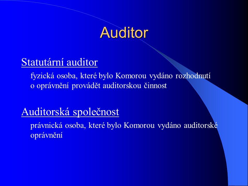 Auditor Statutární auditor Auditorská společnost