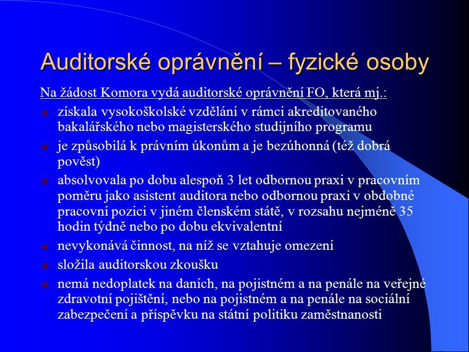 Auditorské oprávnění – fyzické osoby