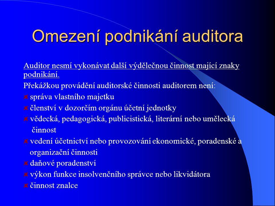 Omezení podnikání auditora