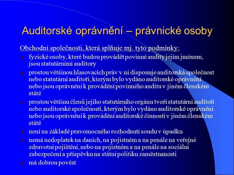 Auditorské oprávnění – právnické osoby