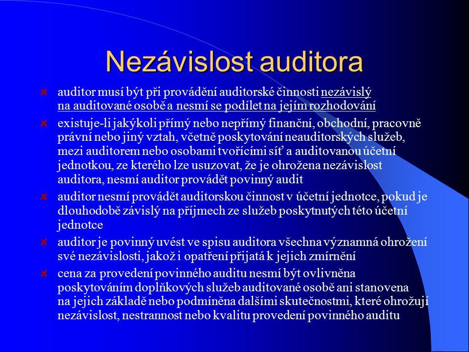 Nezávislost auditora auditor musí být při provádění auditorské činnosti nezávislý na auditované osobě a nesmí se podílet na jejím rozhodování.
