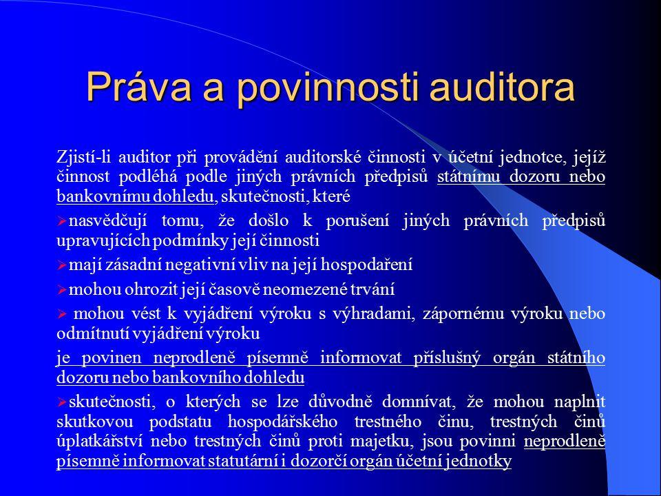 Práva a povinnosti auditora