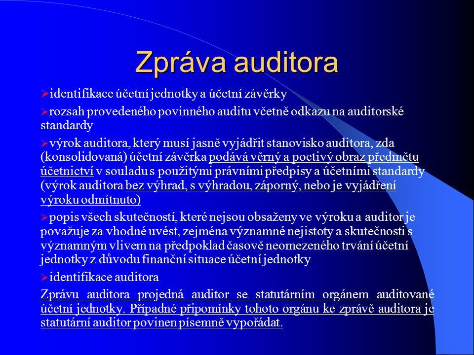 Zpráva auditora identifikace účetní jednotky a účetní závěrky