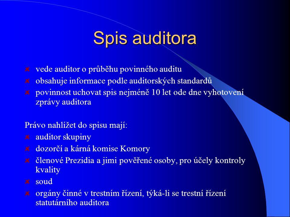 Spis auditora vede auditor o průběhu povinného auditu