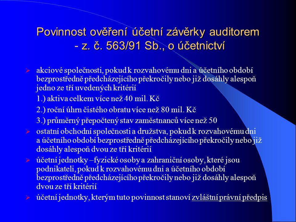 Povinnost ověření účetní závěrky auditorem - z. č. 563/91 Sb