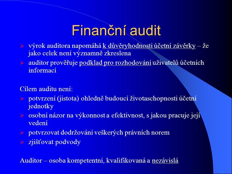 Finanční audit výrok auditora napomáhá k důvěryhodnosti účetní závěrky – že jako celek není významně zkreslena.