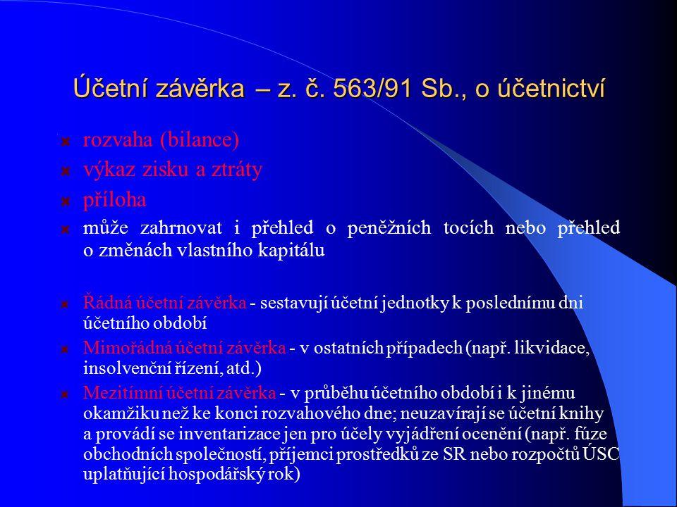 Účetní závěrka – z. č. 563/91 Sb., o účetnictví