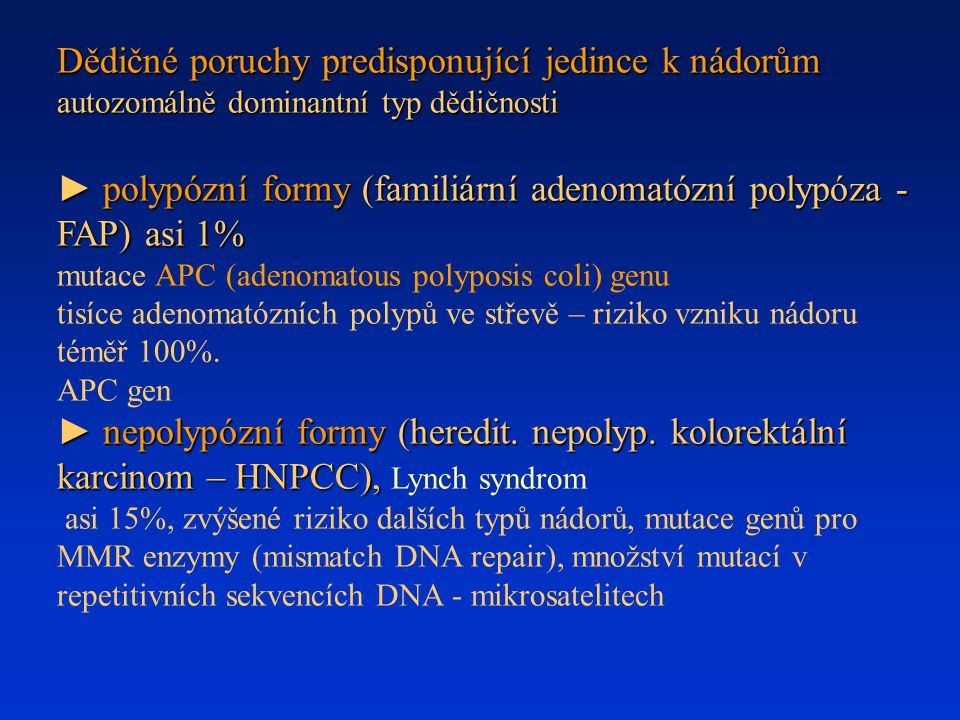 Dědičné poruchy predisponující jedince k nádorům