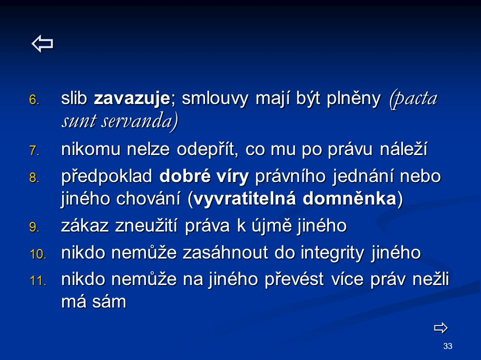  slib zavazuje; smlouvy mají být plněny (pacta sunt servanda)