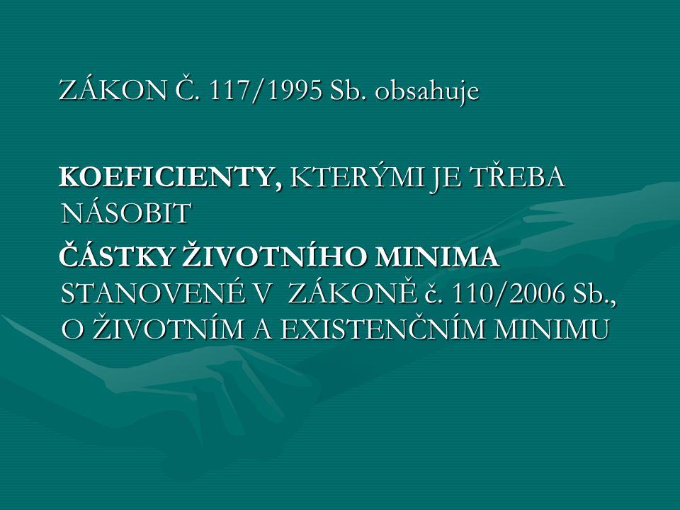 ZÁKON Č. 117/1995 Sb. obsahuje KOEFICIENTY, KTERÝMI JE TŘEBA NÁSOBIT.