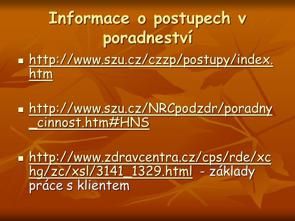 Informace o postupech v poradneství