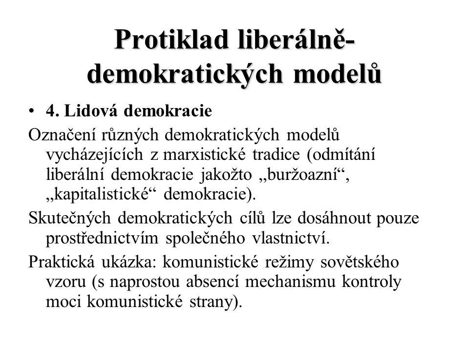 Protiklad liberálně- demokratických modelů