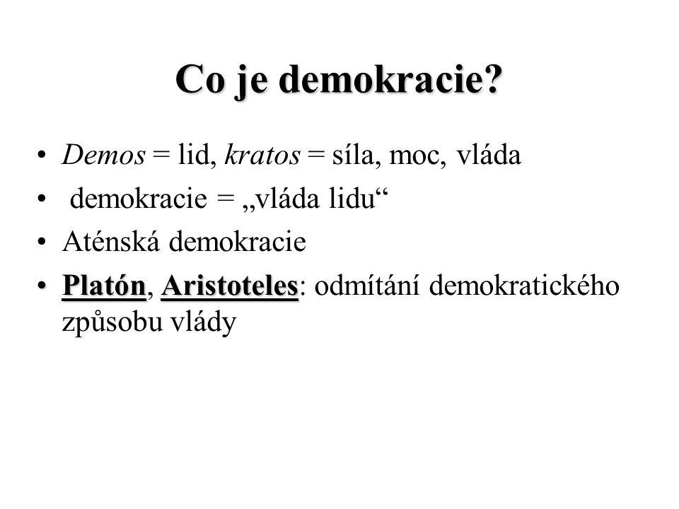 Co je demokracie Demos = lid, kratos = síla, moc, vláda